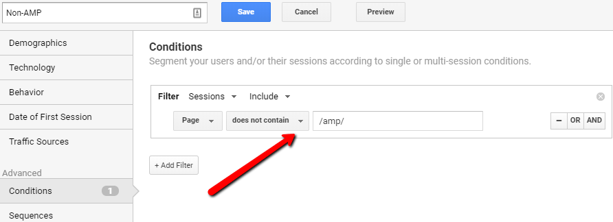Non AMP Segments In Google Analytics