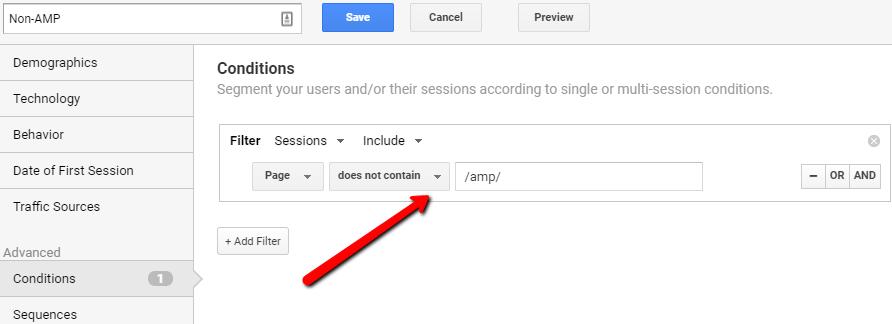 Non AMP Segments In Google Analytics