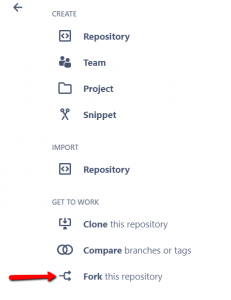 Forking repositories in Bitbucket