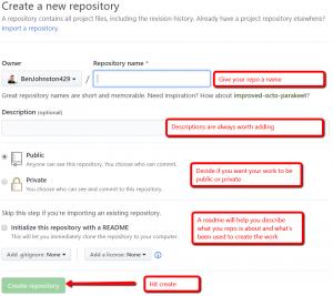 Creating repos with GitHub