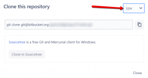 Choose between SSH and https URLs to clone a Bitbucket repo