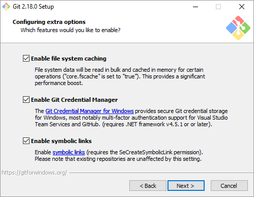Enable file cache in Git for Windows
