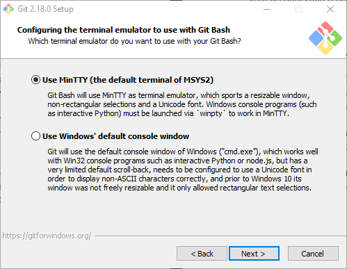 Use the MinTTY terminal on Windows