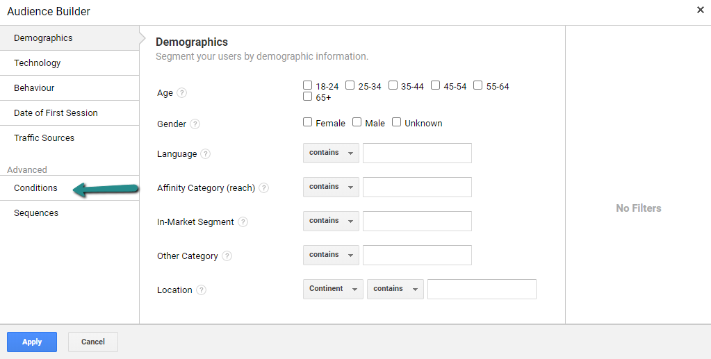 Google Analytics Audience Conditions