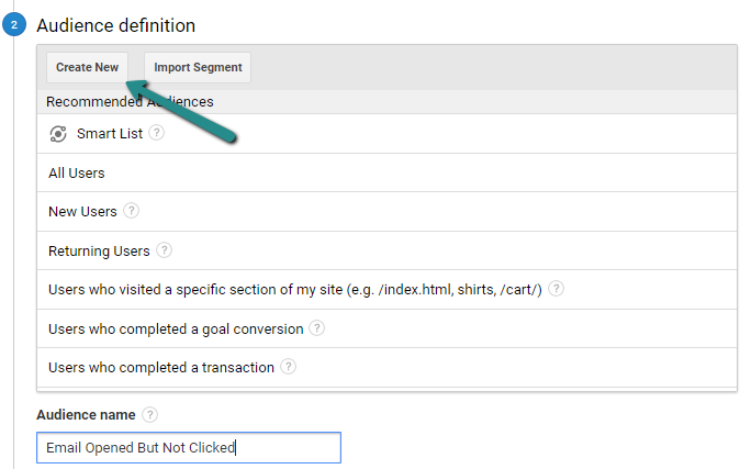 Create New Google Analytics Audience Definition