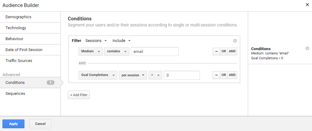 Conversions from email Google Analytics Audience