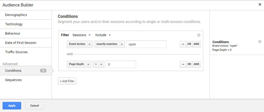 Email opened but not clicked Google Analytics Audience