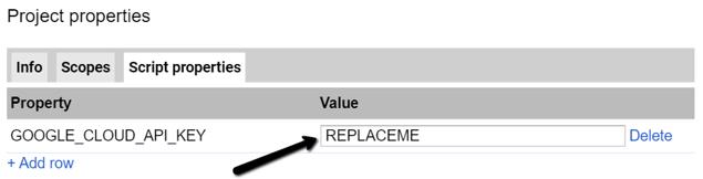 Google Sheets Script Properties