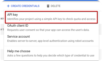 Generate a Google Cloud API key