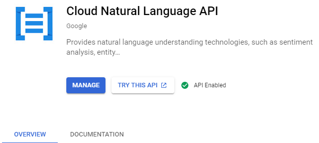 Google Cloud Natural Language API enabled